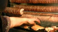 Turkish food kokorec Stock Footage