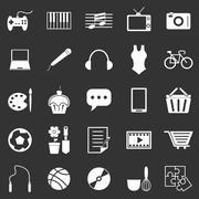 hobby icons on black background - stock illustration