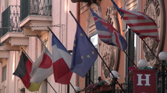 Flags Outside Italian Sicilian Hotel in Catania. Stock Footage