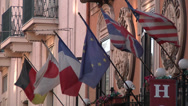 Stock Video Footage of Flags Outside Italian Sicilian Hotel in Catania.