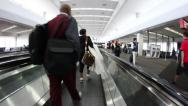 Stock Video Footage of Moving sidewalk at busy airport