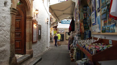 Lindos street, tourist shop, souvenirs stalls in Lindos Stock Footage