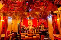 Incense cones hanging chinese gods man mo temple  hong kong Stock Photos