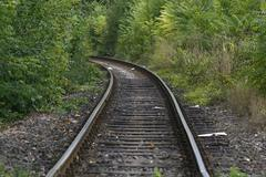 railway track in a green forest - stock photo