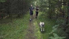 SLOW MOTION: A young couple running behind the dog - stock footage