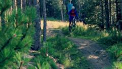 Mountain bike jump - stock footage