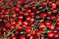 fresh cherries natural cherry to background on the street market - stock photo