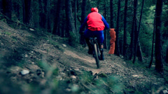 Mountain bike downhill - stock footage