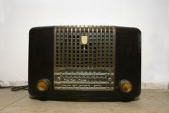Radio beautiful old radio receiver device Stock Photos