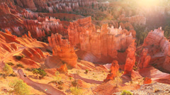 Sunlight glow at Bryce Canyon National Park Stock Footage