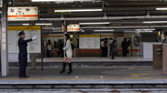 Local Train Arrives at Nagoya Station Stock Footage