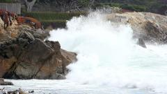 Large wave crashing on rocks - California coast - Beach Stock Footage