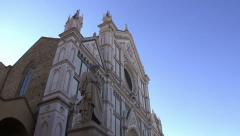Santa Croce Facade and Dante Alighieri's statue in Florence Stock Footage