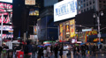 Times Square Illuminated Night Busy Tourist People Intersection Neon Commerce  HD Footage