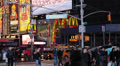 Illuminated Night People Passing Times Square New York City Major Commercial Lit Footage