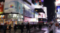 Times Square Illuminated Night People Walking Passing Crosswalk Crowds Traffic Footage