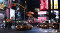 New York City Illuminated Night Times Square Driving Car Traffic Taxi Passing  Footage