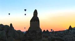 Balloons ascending at cappadocia - stock footage