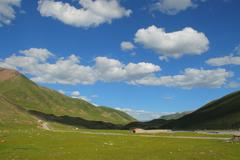 Landscape on Tibetan Plateau, Qinghai, China - stock photo