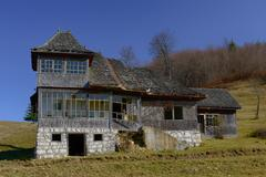 old house located on the top of the carpathian mountains - stock photo
