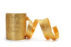 golden ribbon - stock photo