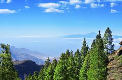tenerife island and mount teide seen from the llano del roque nublo in gran c - stock photo