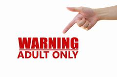 Warning Adult Only for xxx concept Stock Illustration