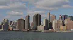 New York City Midtown Skyline United Nations UN Chrysler Building Trump Tower  Stock Footage