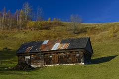 Stock Photo of old house located on the top of the carpathian mountains