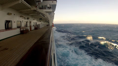 Passing sea from deck of a cruise ship Stock Footage