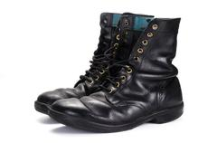 View of used polished israeli army boots Stock Photos