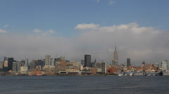 New York City Manhattan Downtown Skyline Skyscrapers Hudson River Panorama Sunny Stock Footage