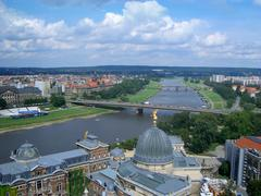 Panoramic view of dresden and elbe river, germany Stock Photos