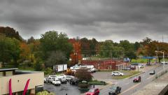 Ominous time lapsed storm clouds with real time traffic Stock Footage