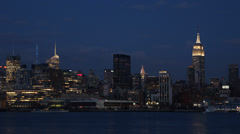 Famous New York City Manhattan Midtown Cityscape Urban Tower Landmark Dusk Night Stock Footage