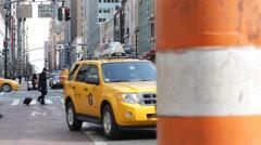 Pipe Steam Vapor People Crossing Crosswalk Cars Wait Traffic Light New York City Stock Footage