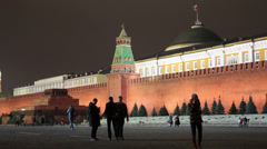 View of Kremlin wall with Lenin Mausoleum on Red Square at night Stock Footage