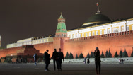 Stock Video Footage of View of Kremlin wall with Lenin Mausoleum on Red Square at night