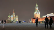Stock Video Footage of People walking on Red Square at night in Moscow, Russia