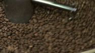 Stock Video Footage of Commercial drum type coffee roaster, centrifugal roaster, roasting coffee beans