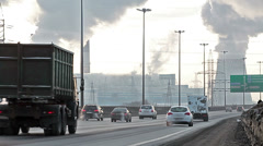 City ringway with air pollution from heat electric generation plant in Russia Stock Footage