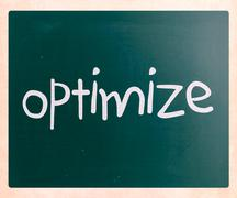 """optimize"" handwritten with white chalk on a blackboard Stock Illustration"