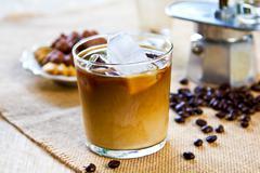 Ice coffee with milk - stock photo
