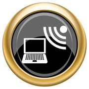 Wireless laptop icon Stock Illustration