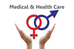 Sexual symbols combination for medical and healthcare concept - stock illustration