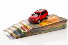 car on swiss franc - stock photo