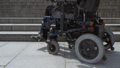 Wheelchair obstacle Stock Footage