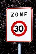 panel of speed limit - stock photo