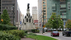 Detroit Campus Martius Park City Square Statue Fountain Buildings Municipal Stock Footage