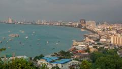 Aerial view of Pattaya. Time lapse from day to night Stock Footage